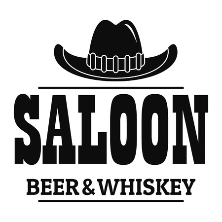 Whiskey saloon logo, simple style Illustration