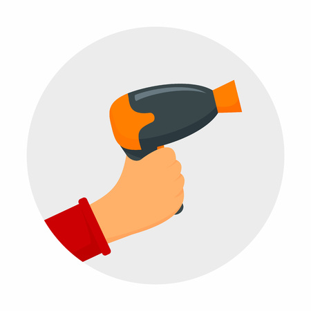 Hand hair dryer concept background. Flat illustration of hand hair dryer vector concept background for web design