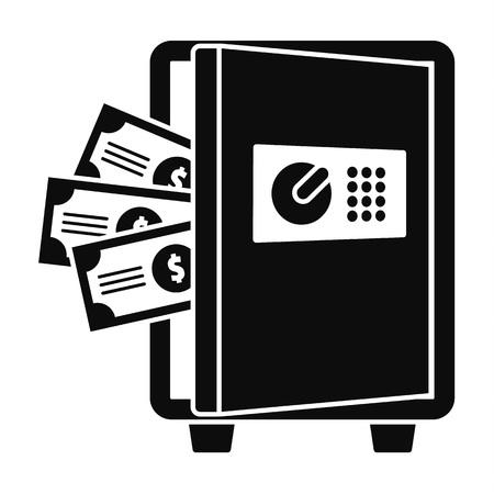 Metal safe icon, simple style Illusztráció