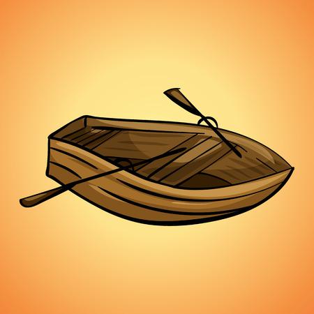 Icône de bateau en bois, style cartoon