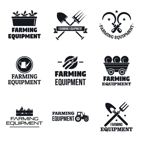 Farming garden equipment logo set. Simple set of farming garden equipment vector logo for web design on white background Stock Illustratie