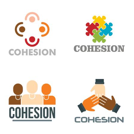 Cohesion logo set, flat style Illustration