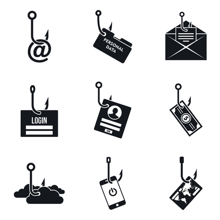 Phishing email icon set, simple style