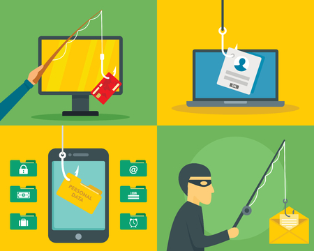 Phishing email security banner set, flat style
