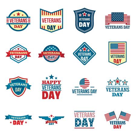 Veterans logo set, flat style Stock Illustratie