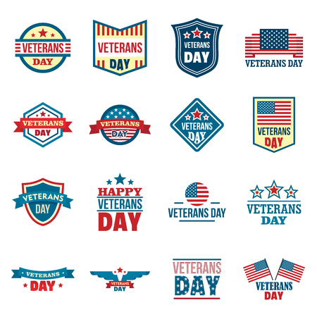 Veterans logo set, flat style Vettoriali