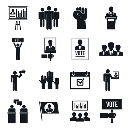 Political meeting icon set. Simple set of political meeting vector icons for web design on white background