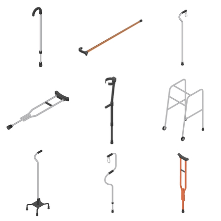 Crutches icon set. Isometric set of crutches vector icons for web design isolated on white background