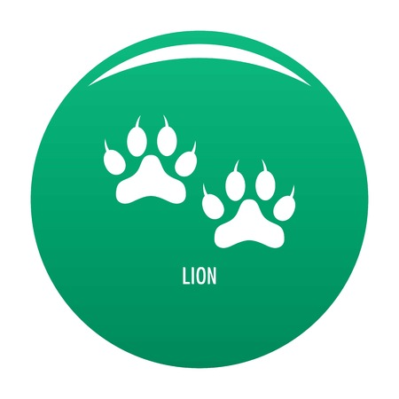 Lion step icon vector green