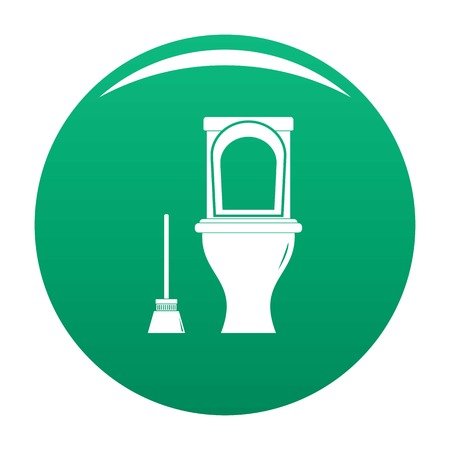 Cleaning toilet icon vector green Illustration