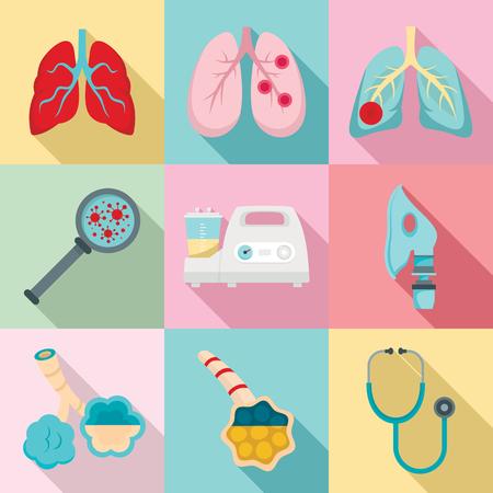 Pneumonia icon set, flat style Stock Photo