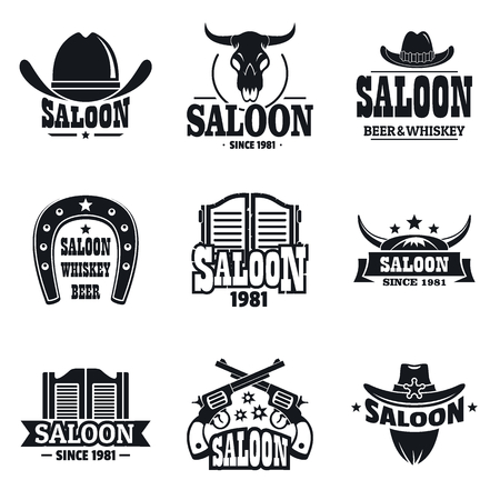 Simple set of saloon  for web design on white background