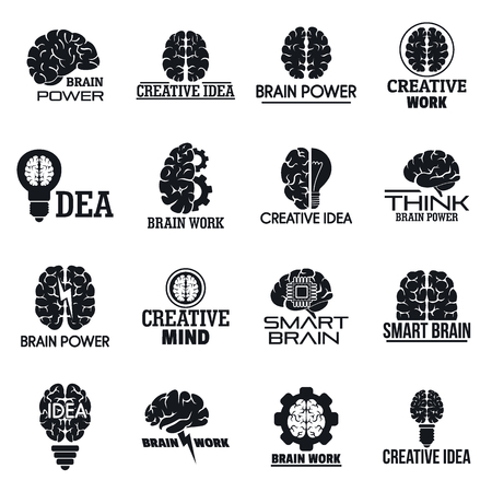 Simple set of brain  for web design on white background