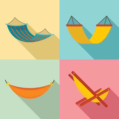 Hammock icon set. Flat set of hammock icons for web design Stock Photo