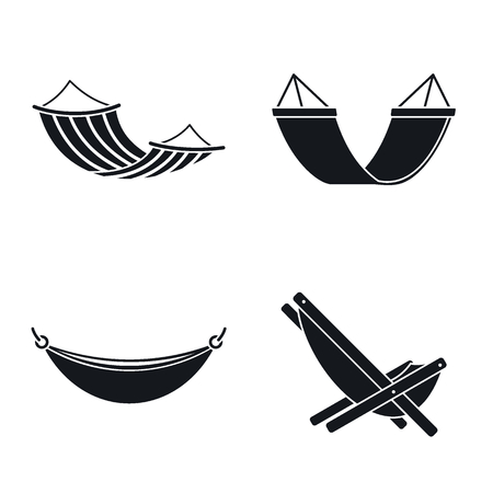 Relax hammock icon set. Simple set of relax hammock icons for web design on white background