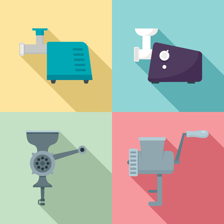 Meat grinder icon set. Flat set of meat grinder icons for web design Stock Photo