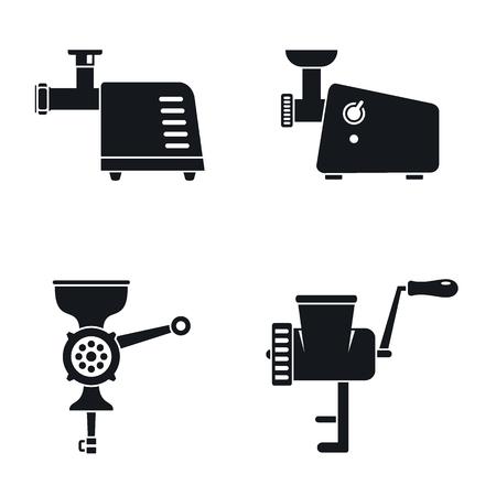 Meat grinder machine icon set. Simple set of meat grinder machine icons for web design on white background
