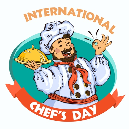 Chef day concept background. Cartoon illustration of chef day concept background for web design