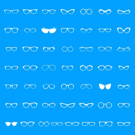 Glasses icons set. Simple illustration of 50 glasses forms icons for web