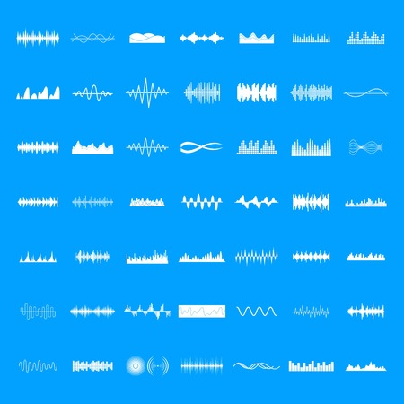 Sound wave icons set. Simple illustration of 50 sound wave icons for web