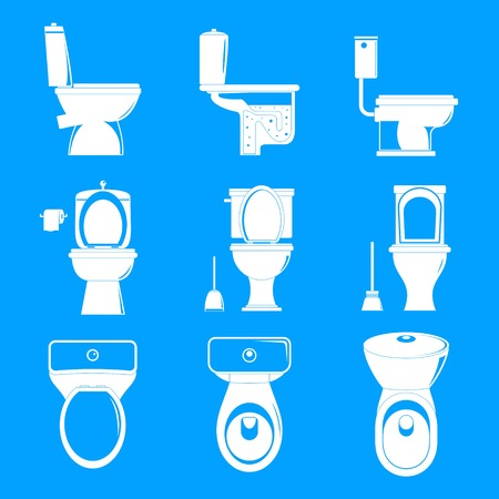 Toilet bowl icons set. Simple illustration of 9 toilet bowl icons for web Stock Photo
