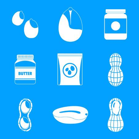 Peanut nuts butter jar icons set, simple style