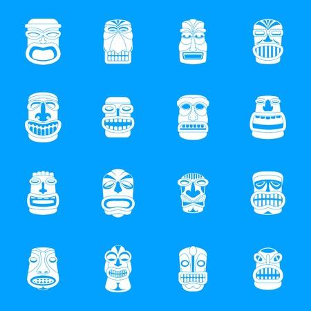 Tiki idol aztec hawaii icons set, simple style