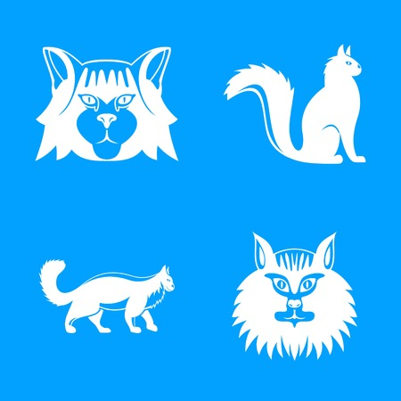 Maine coon cat profile icons set, simple style