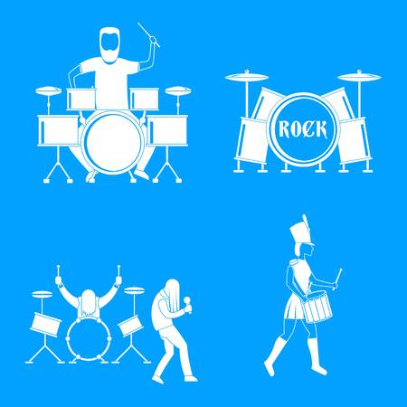 Drummer drum rock musician icons set, simple style Stock Photo
