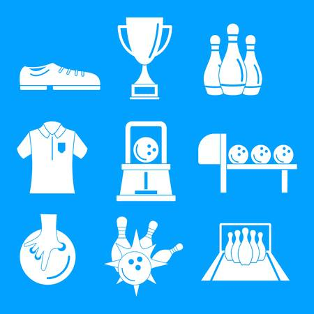 Bowling kegling game icons set, simple style