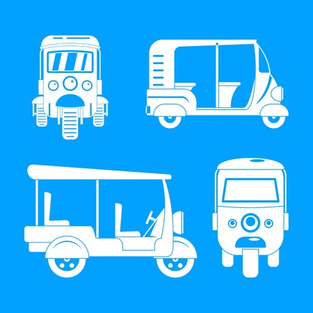 Tuk rickshaw Thailand icons set, simple style Stock Photo - 109141456