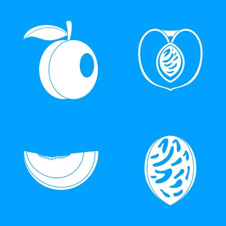Peach tree slices fruit icons set, simple style Stockfoto