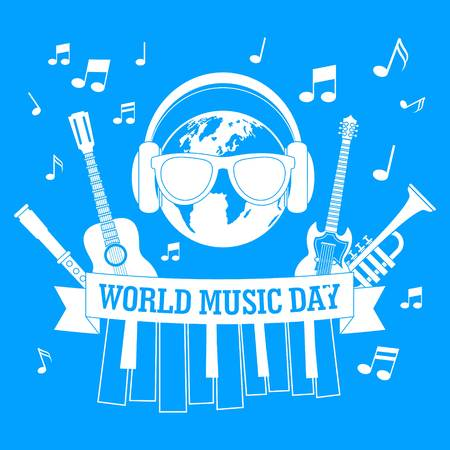 Music day concept background, simple style