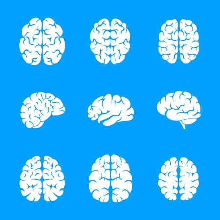Brain thinking icon set, simple style Stock Photo