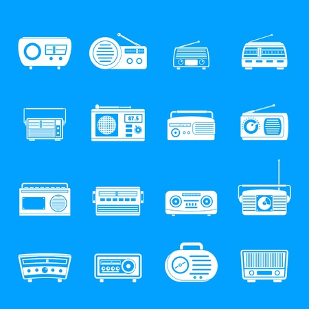 Radio music old device icons set, simple style