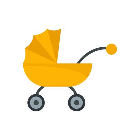 Baby carriage icon, flat style