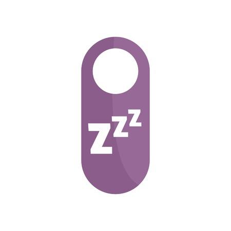 Sleep door tag icon, flat style