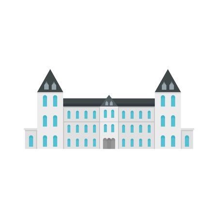 White royal castle city icon, flat style