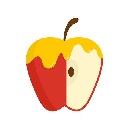 Honey on red apple icon, flat style
