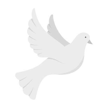 White pigeon of peace icon, flat style Stock Photo