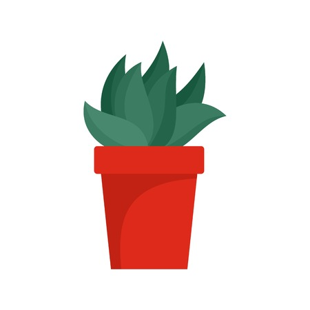 Cactus plant pot icon, flat style Stock Photo