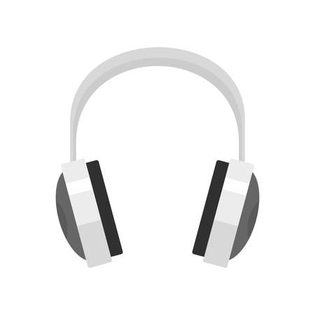 Wired headphones icon, flat style