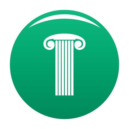 Marble column icon vector green