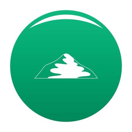Asian mountain icon vector green