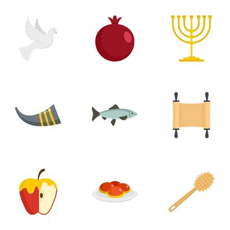 Rosh hashanah icon set. Flat set of 9 rosh hashanah vector icons for web design Banque d'images - 109373186