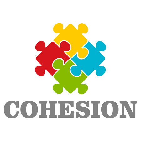 Coesione delle persone. Illustrazione piana del vettore di coesione delle persone per il web design