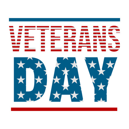 Text veterans day   flat style