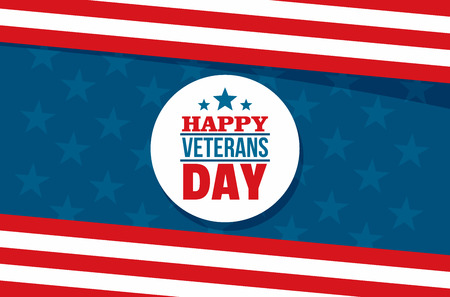 Happy veterans day concept background, flat style
