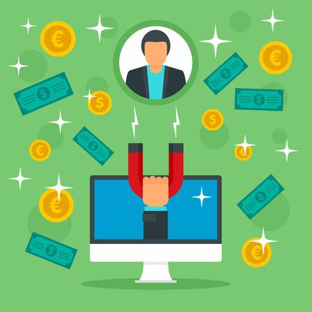 Client money retention concept background. Flat illustration of client money retention vector concept background for web design