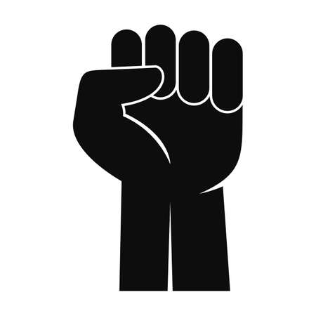 Fist up icon, simple style